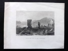 Bartlett America C1840 Print. View of the Ruins of Fort Ticonderoga, New York
